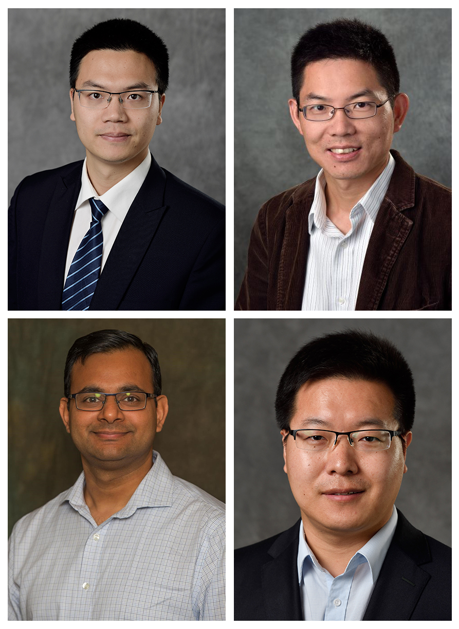 Photographs of Michigan State researchers Zhaojian Li, Xiaobo Tan, Vaibhav Srivastava and Changyong Cao.