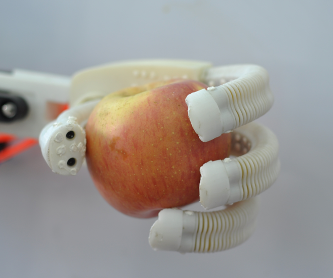 A robotic hand made from soft materials grips an apple