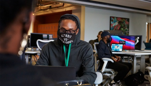 """Apple Developer Academy student at """"Detroit against everyone"""" mask"""