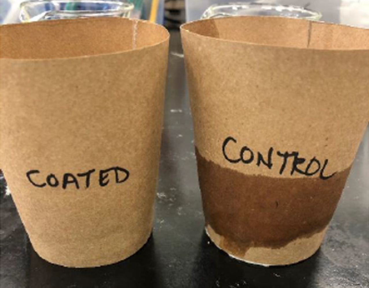 Two light brown paper cups are photographed side by side. The one on the left is labeled with the word