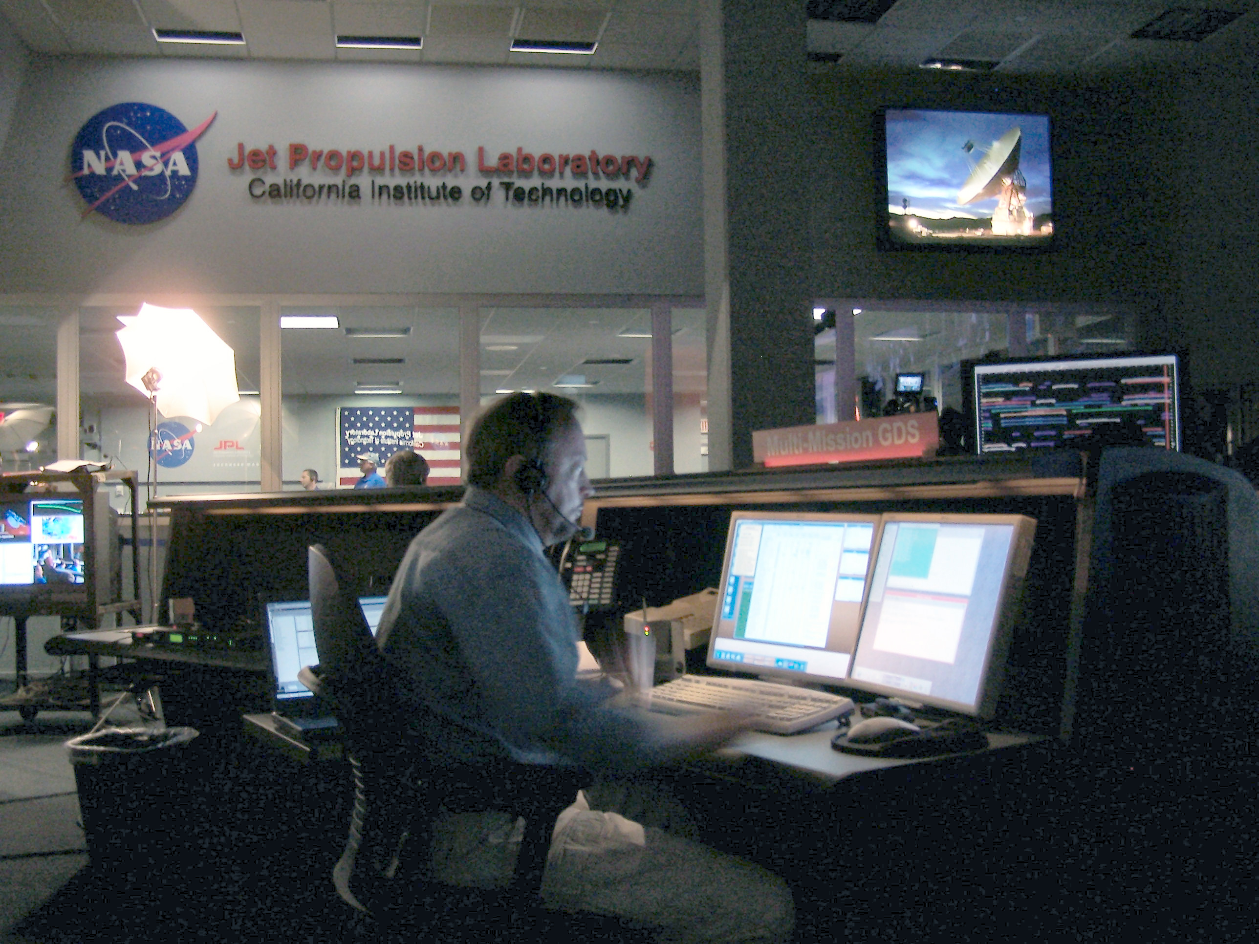 Terry Himes works on his computer console at NASA's Jet Propulsion Lab. Courtesy of Terry Himes.
